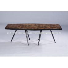 Industrial Vintage Block Wood Hexa Coffee Table