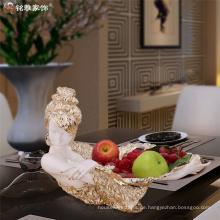Home Dekoration Stücke benutzerdefinierte Harz Schönheit Obst Schüssel für Tischdekoration
