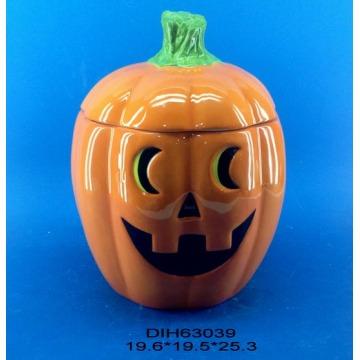 Tarro de almacenamiento de calabaza de cerámica para la decoración de Halloween