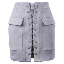 Kate Kasin Sexy Womens Elegante Delgado Ajustar Cintura De Alta Cintura-Envuelto Minifalda Gris KK000604-3