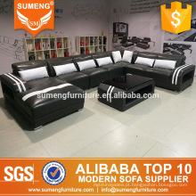 mobília moderna da sala de visitas do estilo de Alemanha grupos secionais italianos do sofá do couro genuíno