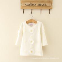 Algodón largo Daidy Baby Transpirable algodón Dama de la manera Vestido para mujeres Ropa de una pieza niñas Vestido de mujer Vestidos florales blanco