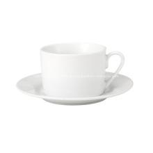 Einfache weiße Teetasse und Untertasse 230cc