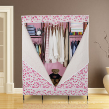 Modern DIY Metal Bedroom Cloth Wardrobe with Non-Wove Fabric