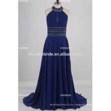 Beaded bordado satinado vestido de noche de embarazadas para las mujeres A-line vestido de bola
