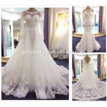 Novos vestidos de noiva muçulmanos de 2016 com mangas compridas Vestido de noiva de aço inoxidável com sapatos de cristal branco com trem removível