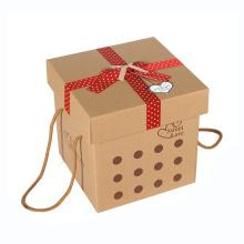 Boîte faite sur commande d'emballage de papier de cadeau de Brown avec la corde de poignée