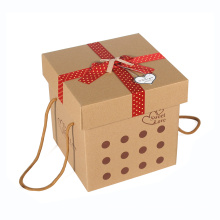 Brown Custom Gift Paper Packaging Box with Handle Rope