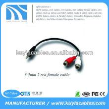 Alta qualidade Nicked chapeado 3m preto 3,5 milímetros cabo de extensão 3,5 mm macho para 2RCA cabo fêmea