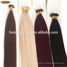 Extensions de cheveux humains pas cher à bout plat russe keration cheveux raides