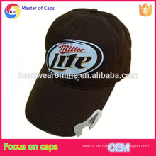 Kundenspezifische Baumwollflaschenöffner-Baseballmütze, Bierflasche gewaschener Hut