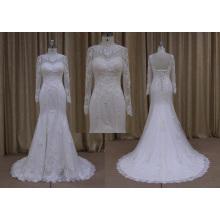 Vestido de novia de encaje de sirena de manga larga de estilo nuevo