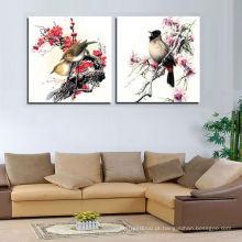 O retrato dos pássaros pelo óleo