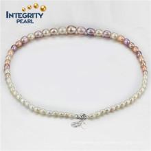 Collar de perlas multicolores Collar de perlas graduadas AAA 4-9mm Collar de perlas