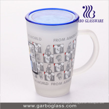12oz Big Glass Decal Printed Mug with Lid Cover