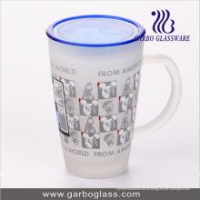12 oz caneca de vidro grande decalque impresso com tampa da tampa