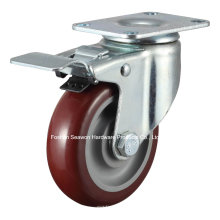 Rodízio de médio porte giratório com rolo de poliuretano de freio duplo