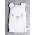 Детские белый медведь Подарочный набор для ванны с капюшоном махровое полотенце, Рукавица-мочалка и тапочки - белые, Пол нейтральный милый