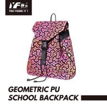 Geometrische PU-Leder leuchtende Kordelzug Rucksack Tasche