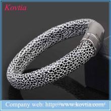 2015 Hallowmas couro couro pulseira magnética serpentina homens de couro de titânio bracelete pulseira de aço