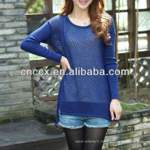 PK17ST218 Modèle de chandail de pull en tricot de coton pour dames de la mode