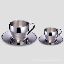 Elegante Edelstahl Stahl Kaffeetasse 60c. C., 180c. C.