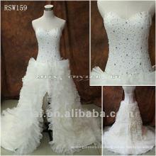 RSW159 2012 реальный бисера Паффи тюль юбка асимметричный свадебные платья