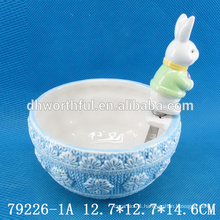 Easter gift ceramic bowl and knife with rabbit figurine
