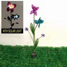 Flowering Shrubs Garden Decoration W. Solar Power Metal Stake Craft