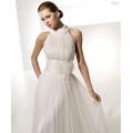 Vestido de novia imperio una línea de cuello redondo capilla tren hilado drapeado correas X