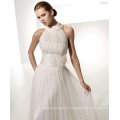 Empire A-line Round Neck Chapel Train Yarn Draped X-straps Wedding Dress