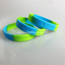 Segment Debossed Silicone Wristbands - 180mmx12mmx2mm