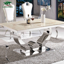Rectangle Marble Kitchen Dining Table Furniture Set for Living Room 6 Seater