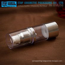 ZB-LE15 15ml oem service provided color and printing customizable round 15ml- 20ml airless pump bottle
