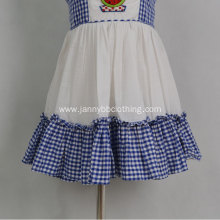 blue-white check poplin fabric embroidered baby dress