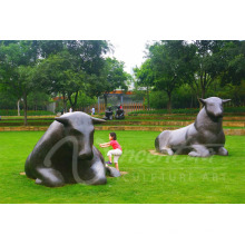 Jardin décoration métal artisanat taureau statue grandes sculptures extérieures en bronze