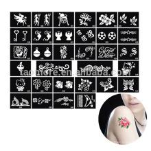 Projeto da flor desenho estêncil asas tatuagens desenhos Fênix dragão mistura, estêncis do tatuagem glitter reutilizável por atacado