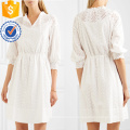 White Cotton Embroidered Three Quarter Length Sleeve Mini Summer Dress Manufacture Wholesale Fashion Women Apparel (TA0332D)