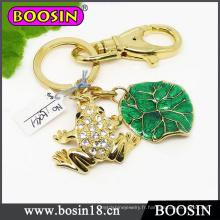 Porte-clés grenouille animal vivant en métal fait sur mesure en or riche # 15941
