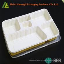 tabuleiro de comida com 6 compartimentos