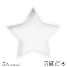 Bandeja Cerâmica Branca em Forma de Estrela