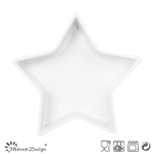 Star Shape White Ceramic Tray