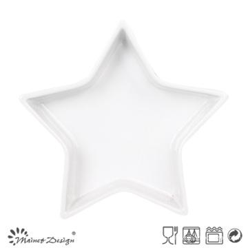 Plateau en céramique blanche en forme d'étoile