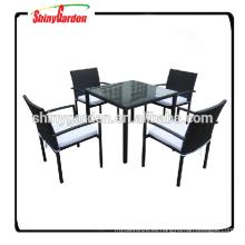 Mesa de comedor y silla de mimbre de muebles de aluminio 5pcs Set, mesa de restaurante y silla