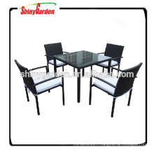 5pcs table de rotin de meubles en aluminium et chaise dinant l'ensemble, table de restaurant et chaise