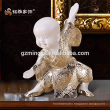 Resin Silver Unique Home Decoration Piece Inner Ornament Cute Table Decorative Kungfu monk resin art