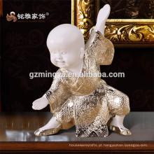 Resina Prata Peça única Decoração para casa Ornamento interno Cute Table Decorative Kungfu monk resin art