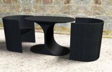 Perabot rotan yang kolam timbunan Meja kopi PE