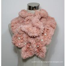 Lady Fashion Polyester Pelz gestrickter Schal mit Perlen (YKY4365A-2)