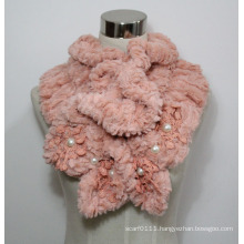 Lady Fashion Polyester Fur Knitted Scarf with Pearls (YKY4365A-2)